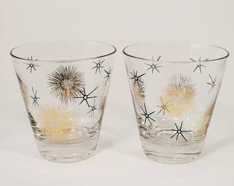 Federal Glass Co. Black and Gold Atomic Starburst Barware Glasses, Set of 2, 1960s Vintage