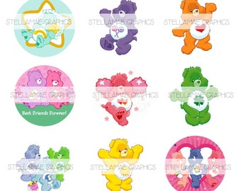 Care Bears - 1 inch circle images, bottlecap, cupcake topper - INSTANT DOWNLOAD