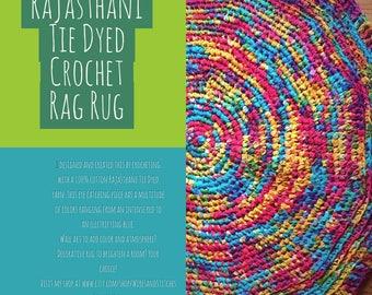 Rajasthani Tie Dyed Crochet Rag Rug