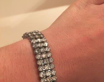 Expandable Vintage Silver Rhinestone Costume Jewelry Bracelet