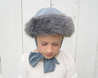 Vintage Winter Hat | Tie Neck Cap