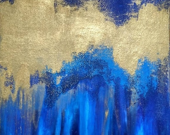 Abstract Acrylic Painting on Canvas Original Blue Gold Wall Art Original Painting 12 x 16 Canvas Blue Painting Gold Textured Metallic Art