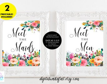 Meet the Maids Men Signs, Wedding,Bridesmaid Sign,Boho Wedding Sign Floral Wedding Printable Sign,Meet the Bridesmaids Groomsmen Floral 4x6
