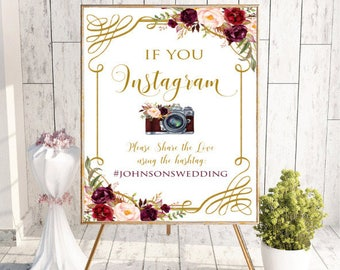 Instagram Wedding Sign, Wedding Hashtag Sign,Printable Instagram Sign,Custom Welcome Wedding Sign,Floral,Boho Chic Wedding,props,Digital,#LC