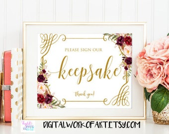 Keepsake Sign, Please Sign Our Keepsake, Typography Calligraphy Keepsake Sign, Printable Sign, Wedding Sign, Floral boho sign, #LC