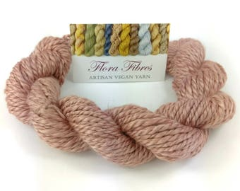 """Hand spun naturally dyed vegan soybean soysilk 2 ply worsted weight yarn """"Dried Flowers"""" for knitting crochet weaving UK"""