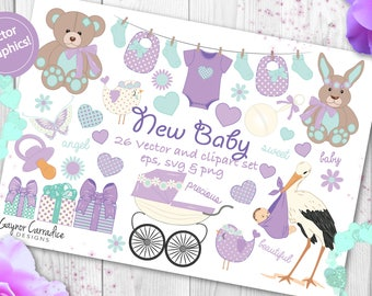 baby clipart set, baby vector set, new baby clipart set, new baby vector set, baby shower clipart, baby shower vectors, gender neutral
