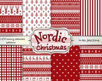 Nordic Christmas digital papers, Christmas Fair isle digital papers, Scandinavian patterns, Christmas jumper pattern, reindeer digital paper