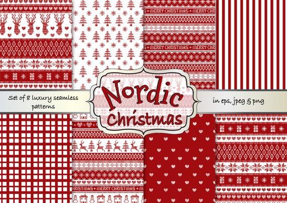 Nordic Christmas digital papers Christmas Fair isle digital