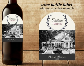 Wine Bottle Label with House Sketch
