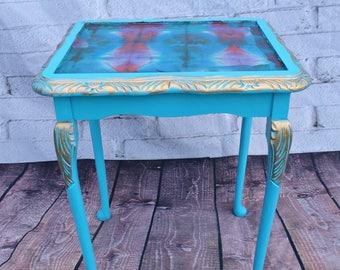 Blue Small table -Boho table-Decoupage table-Style Junki