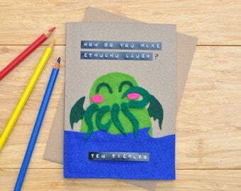 Cthulhu Card! | Birthday / greeting card | Cute funny pun | Geek | Dungeons and Dragons | DnD | 'How do you make Cthulhu laugh? Ten Tickles'