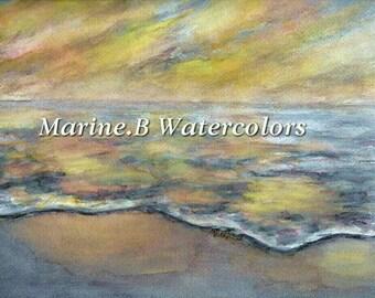 Watercolor Ocean /Beach Art Print 8 x 10 in