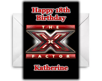 X-FACTOR Personalised Birthday Card / Greetings Card