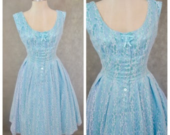 Vintage Blue Lace Dress   Vintage Party Dress   1950's Style Full Skirt Dress   Size 12 Vintage Dress   Vintage Lace Dress