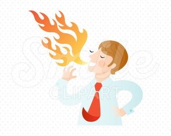 MAN SPEAKING FLAMES Clipart Illustration for Commercial Use | 0058