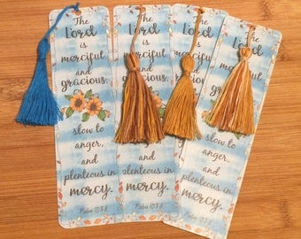 Bible Verse Bookmark - Psalm 103:8 -  handmade WITH tassel  (stock #20) merciful, gracious Lord