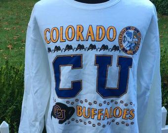 Vintage 80s University of Colorado Buffaloes 1980s Crewneck College Sweatshirt - vintage sweatshirt - sports - university (XL)