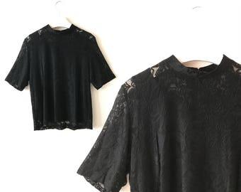 """Black lace top S / M """"Hayley"""" black lace layering vintage blouse, high neck lace top, black evening blouse, US size 8 10 subtle 80s clothing"""