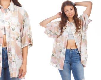 BIRD Print Shirt Mens Vintage 1990s White Colibri Button up Boyfriend Gift Baggy Shirt Sleeve Beige Retro 90s Cotton Large to XL