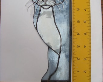 Stained glass peeping Cat - Grey