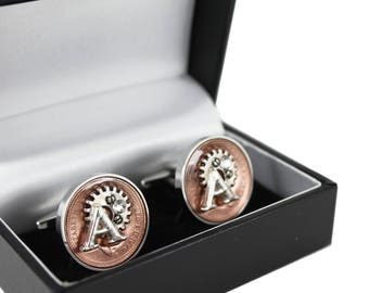 Happy 30th Birthday Year 1988 UK Penny Coin Steampunk Style Cufflinks with Swarovski Birthstone and Initial charm