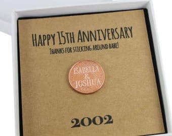 Personalised Happy 15th Anniversary Keepsake Gift, Lucky Penny Gift