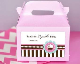 Cupcake party mini gable boxes-set of 24-cupcake party, cupcake favor boxes