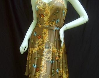 Luxurious Silk Butterfly Foliage Slip Dress US Size 6