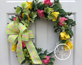 Spring Wreath, Easter Wreath, Tulip Wreath, Pink Wreath, Front Door Wreath, Wreath Street Floral, Grapevine Wreath, Yellow Wreath