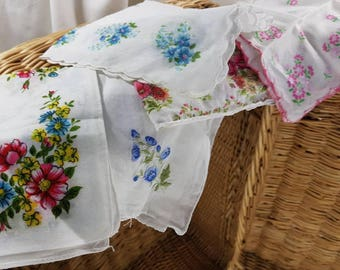 Hanky Panky Vintage German Handkerchiefs Lot of 5 Floral Print and Embroidered Ladies Handkerchiefs Pocket Squares  Shipping Included
