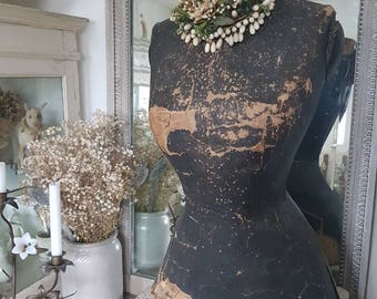 Antique mannequin dress form shabby chic bust torso