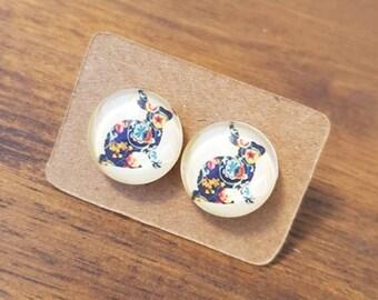 Vintage rabbit earrings, Easter earrings