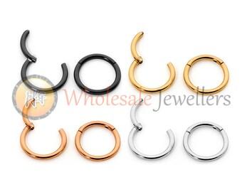 1pr 18G Hypoallergenic 316L Surgical Steel 6mm 8mm 10mm Sleepers Hinged Hoop Earrings Segment Rings