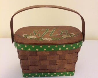 Vintage basket purse, green ribbon, Vermont, monogrammed wicker purse, wood purse, picnic basket purse, handmade purse, vintage handmade