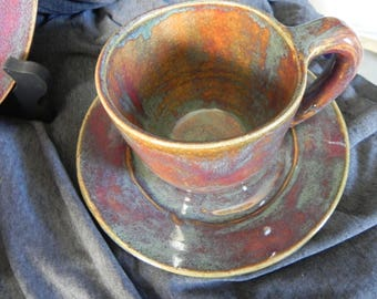 studio pottery cup and saucer coffee tea cup