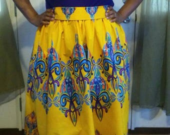 READY TO SHIP - Summer Breeze - Yellow Ankara Plus Size Maxi Skirt comes with Free Shipping / African Clothing / Just Skirting By