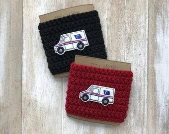 SALE--Mail truck cup cozy, coffee sleeve, reusable coffee sleeve, postal service worker, mason jar sleeve