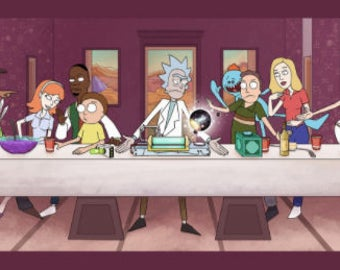 "Rick And Morty TV Animation Fabric Art Cloth Poster 55 x 24"" / 32 x 13"". tv show, handmade"