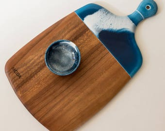 Resin Edged Acacia Serving Board with Bowl - Indigo Wave - Cheese Platter, Mothers Day, Wedding Gift, Unique Gift, Chopping Board, OOAK
