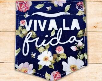 "Frida Kahlo ""Viva la Frida"" Stick-on Pocket Patches - Patches for Tshirts"