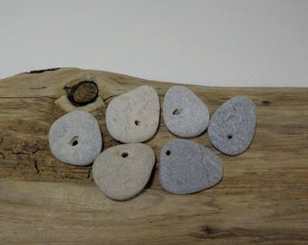 6 Naturally Holed Beach Stones - Hag Stones - Sea Stones With Natural Hole - Decorative Beach Find - Odin Stone Talisman#200