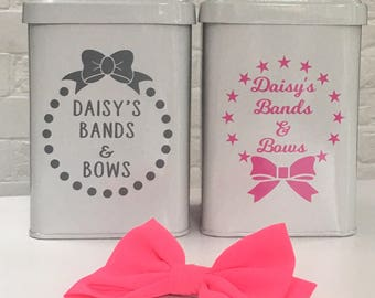 Personalised Hairbands and Bows Storage Canister / Tin / Bedroom Decor / Hair Accessory