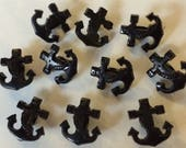 100 x Black Anchor Shaped Buttons. Approx. 15mm