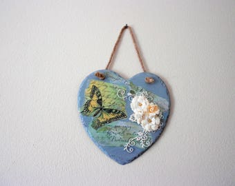Butterfly and flower heart plaque, shabby chic heart, housewarming gift, bedroom decor, gift for mum, shabby chic decor, heart wall decor