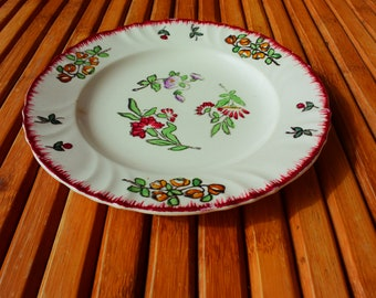 plate LONGWY - dessert plate - made in France - Vintage- flowers decor -