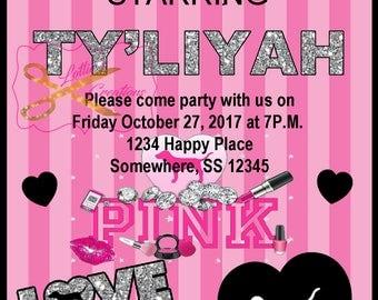 Victoria Secret Pink Invite, Pink Invitation, Pink Invite, Victoria Secret Invite, Victoria Secret Pink, Digital Pink Invitation