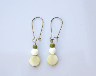 Pendant earrings green glass cream and olive green shell beads