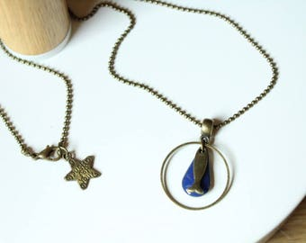 Necklace bronze ring and midnight blue sequin