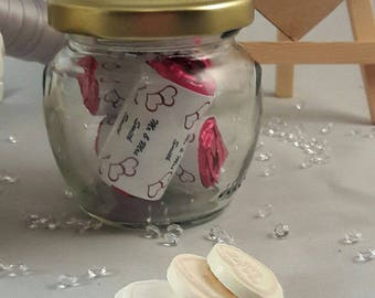 10 glass jar wedding favor with personalised love heart sweets, Personalised wedding favour, Glass wedding jars, Thank you jar
